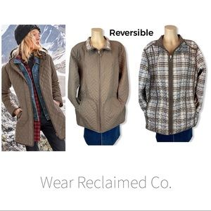 Reversible Quilted Coat - Brown & Plaid